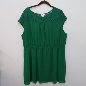 One Clothing Green Floral Lace Upper Dress